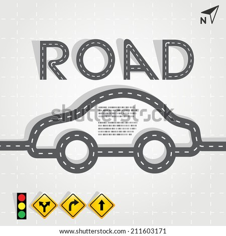 Vector road in form of car with road signs, Vector EPS10 - stock vector