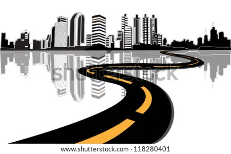 Vector - road leads to city - stock vector