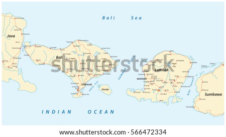 Vector Road Map Indonesian Lesser Sunda Stock Photo Photo Vector