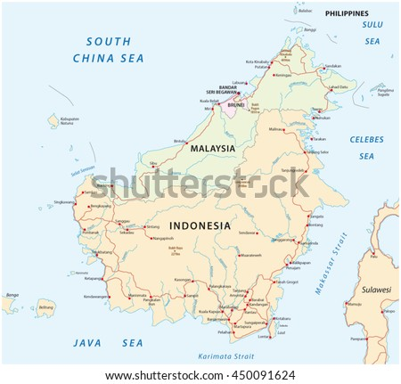 Vector Road Map Island Borneo Kalimantan Stock Photo Photo Vector