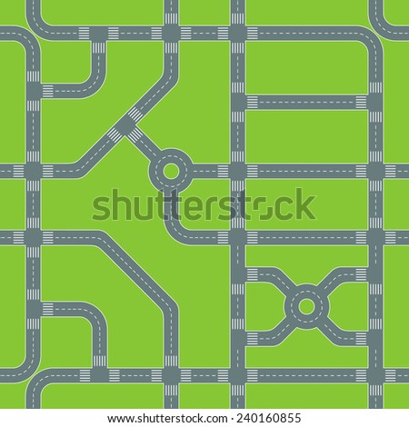 Vector road map seamless pattern