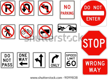 Vector road signs - stock vector