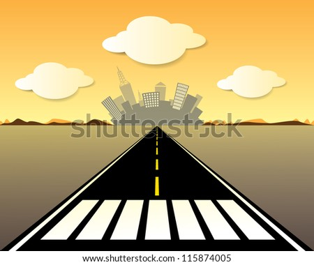 Vector road to the city - stock vector