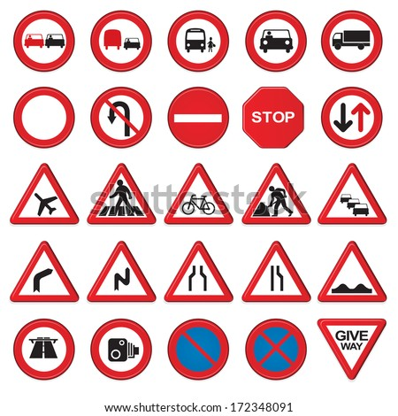 Vector road & traffic signs. 3D signs with a beveled edge. - stock vector