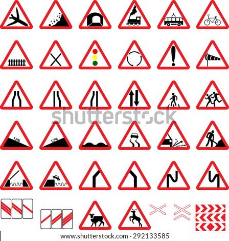 vector road warning signs