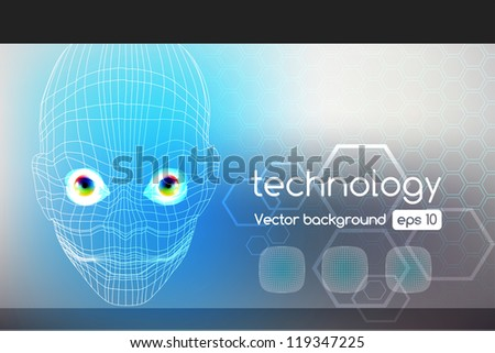Vector robot face, cyborg, artificial intelligence technology background concept - stock vector