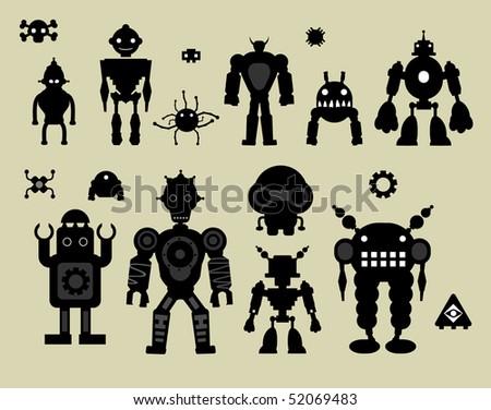 vector robot set#3 - stock vector