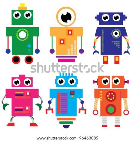 vector robot set - stock vector
