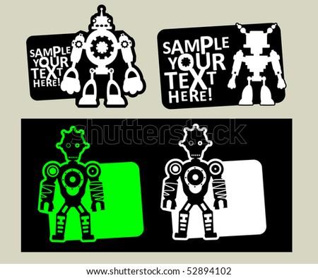 vector robot stickers - stock vector