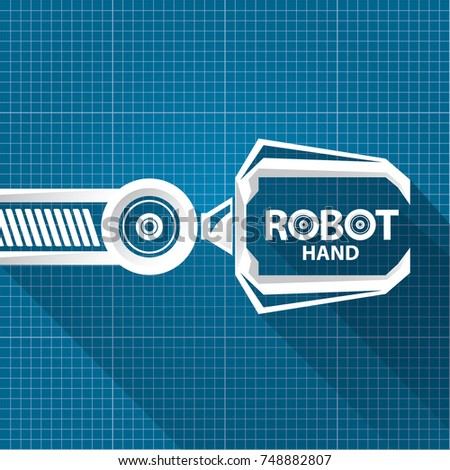 Robot text symbol gallery free symbol design online vector robotic arm symbol on blueprint stock vector hd royalty free malvernweather Gallery
