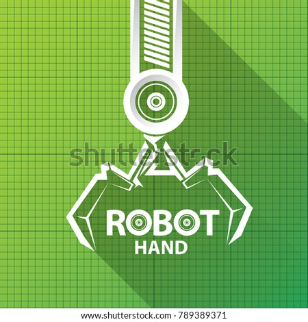 Vector robotic arm symbol on green stock vector 2018 789389371 vector robotic arm symbol on green blueprint paper background robot hand technology background design malvernweather Image collections