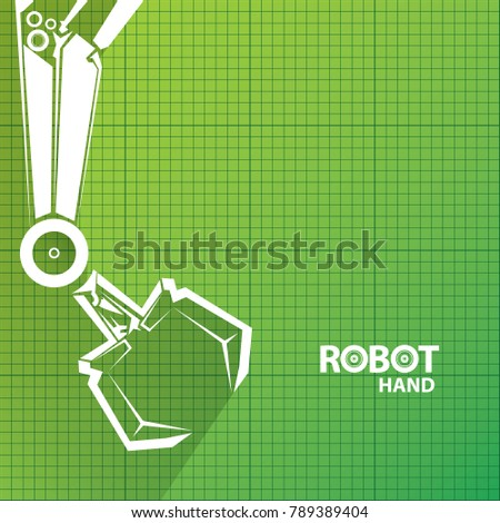Vector robotic arm symbol on green stock vector 789389404 shutterstock vector robotic arm symbol on green blueprint paper background robot hand technology background design malvernweather Image collections