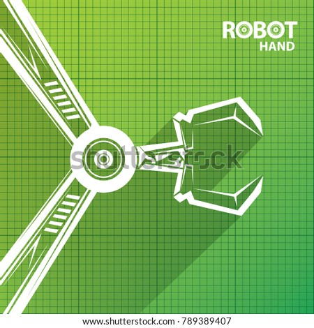 Vector robotic arm symbol on green stock photo photo vector vector robotic arm symbol on green blueprint paper background robot hand technology background design malvernweather Image collections