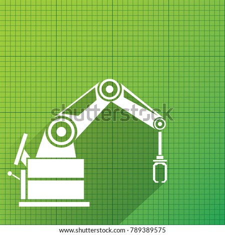 Robot blueprint stock images royalty free images vectors vector robotic arm symbol on green blueprint paper background robot hand technology background design malvernweather Choice Image