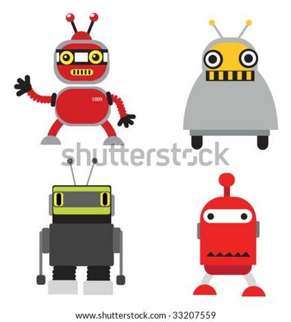 Vector robots set - stock vector