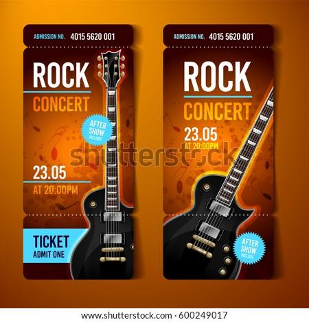 Vector Rock Festival Ticket Design Template Stock Photo (Photo ...