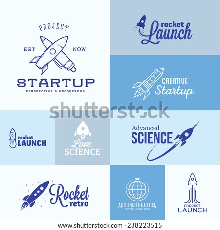 Vector Rocket Logo Set. Icons, Labels or Signs With Typography - stock vector