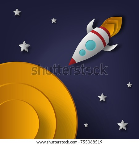 Vector rocket, space, planets, stars, cut from paper, 3d. Used for posters, posters, postcards, banners, backgrounds.