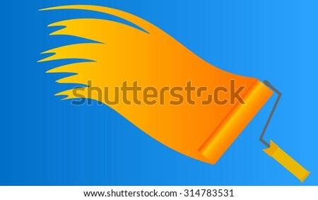 Vector roller brush - stock vector