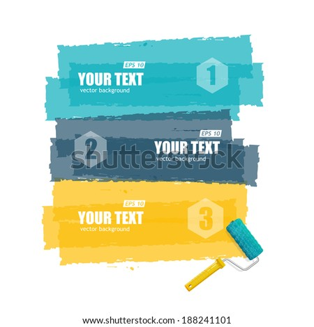 Vector roller brush for text, infographics options banner on white - stock vector