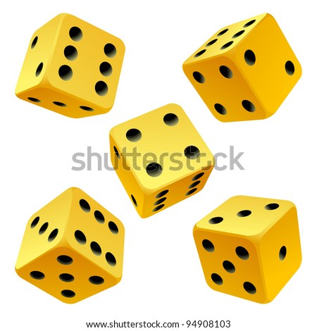 Vector rolling yellow game dice set isolated on white background - stock vector