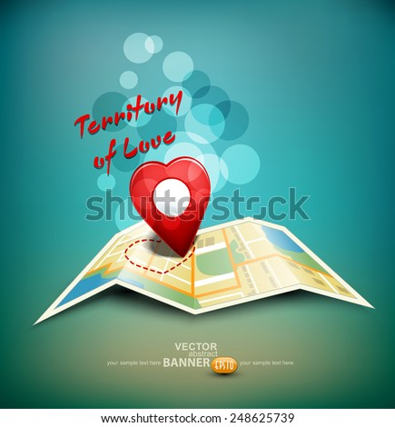 "vector romantic background ""territory of love"" with a map and a sign in the shape of a heart - stock vector"