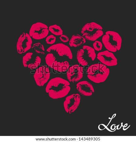 Vector Romantic Card with Heart consist of Prints of Lips - stock vector