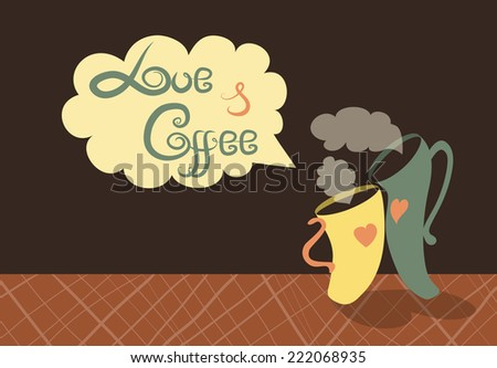 Vector romantic cups of coffee on table - stock vector