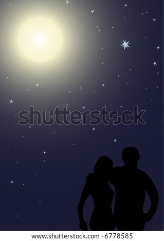 Vector romantic date in the night, EPS Ill8 file included - stock vector