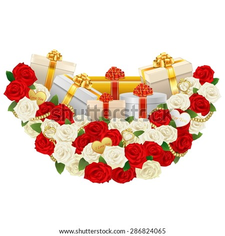 Vector Romantic Flower Decoration with Gifts