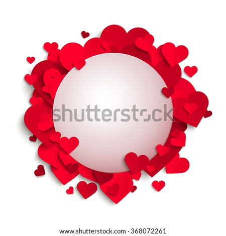 Vector romantic frame template, red paper hearts and place for text