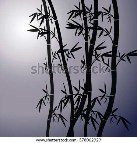 Vector romantic landscape with bamboo trees on background of moon sky