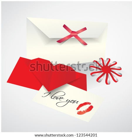 Vector romantic set - envelope, love letter with lips print on paper, flower made from paper stripes - stock vector