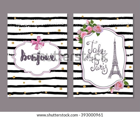 Vector romantic  template with pink roses, Eiffel tower. Save the date, bridal shower, birthday, invitation card. Hello sign. - stock vector