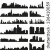 Vector roofs and skylines of the cities and towns - stock vector