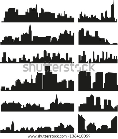 Vector roofs and skylines of the cities and towns