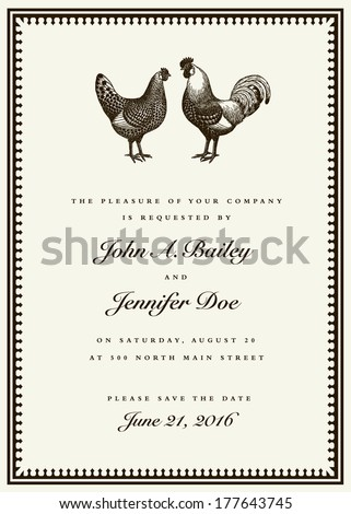 Vector rooster and hen wedding invitation template. Easy to edit. Great for invites and announcements. - stock vector