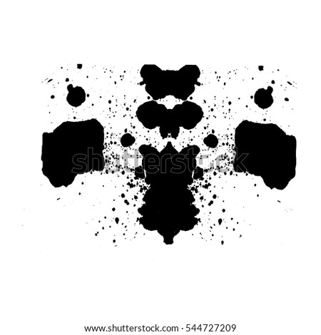 Vector Rorschach test ink blob. Abstract Silhouettes for design, art, print. Beautiful unique hand painted  ink textures. Isolated on white background.