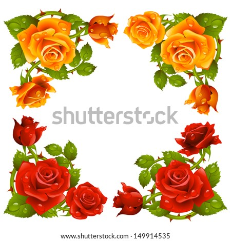 Vector rose corner isolated on white background. Red and yellow flowers - stock vector