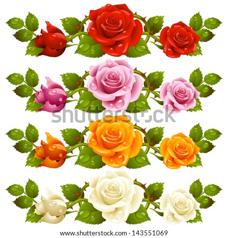 Vector rose design elements isolated on background. Red, pink, yellow and white flowers - stock vector