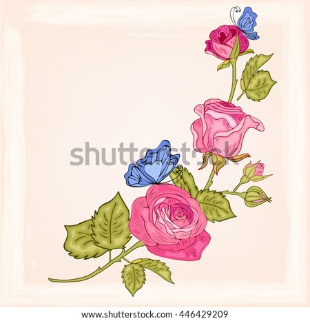 Vector rose flowers with butterflies for design, banners, invitation of the wedding, birthday, Valentine's Day, Mother's Day, gift cards, congratulation. Decorative floral  elements. - stock vector