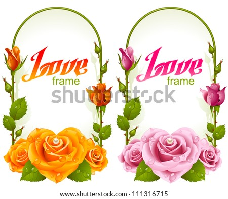 Vector rose frames. Wedding, Birthday or Valentine day vertical banners with yellow and pink flowers isolated on white background - stock vector