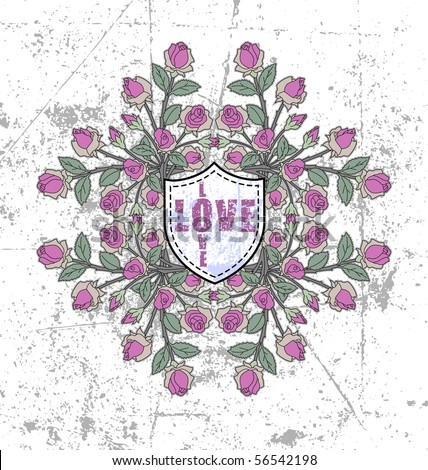 vector rose pattern with grunge background