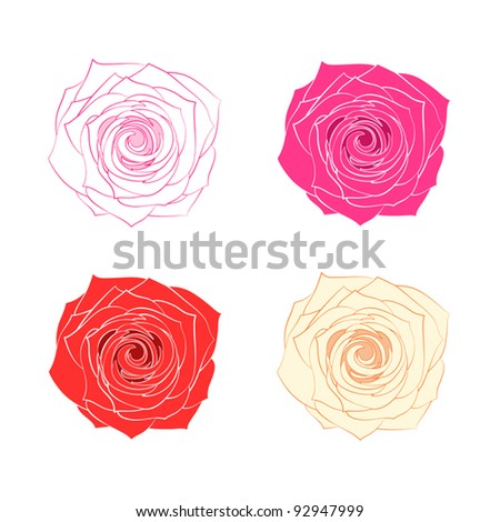 Vector roses isolated on white - stock vector