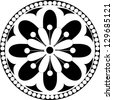 Vector rosette  with floral and geometrical ornament. Black and white illustration, - stock photo