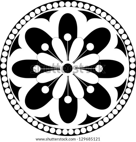 Vector rosette  with floral and geometrical ornament. Black and white illustration, - stock vector