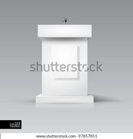Vector rostrum/podium with microphone - stock vector