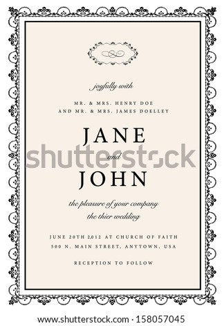 Vector Rough Wedding Invitation. Easy to edit. Great for invitations and announcements.  - stock vector