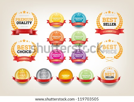 Vector round badges collection - stock vector