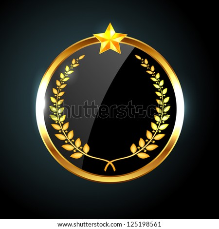 Vector round black glossy label / banner with laurel wreath and golden star - stock vector